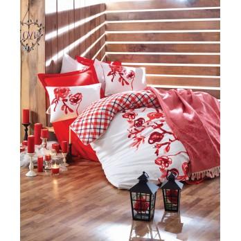 Scarlet Kırmızı Çift Kişilik Yatak Örtülü Nevresim Takımı