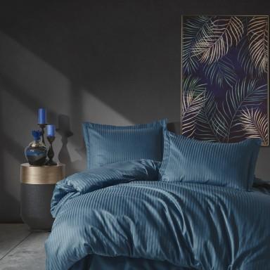 Elegant Stripe Saten Çift Kişilik Nevresim Takımı Mavi