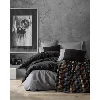 Plain Pamuk Battaniyeli Çift Kişilik Nevresim Takımı Siyah - Gri