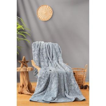 Emboss Çift Kişilik Battaniye Mavi
