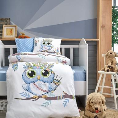 Bebek Nevresim Takımı Owl Mavi