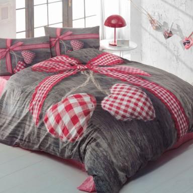 3D Lovebox Çift Kişilik Nevresim Takımı Kırmızı