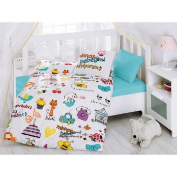 Mutlu Bebek Beyaz Bebek Nevresim Takımı