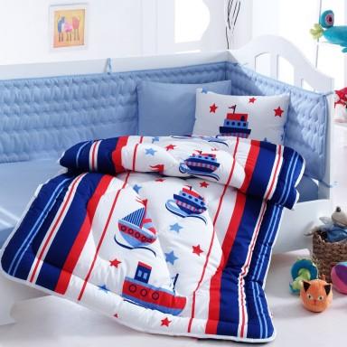 Baskili Bebek Uyku Seti Denizci Mavi