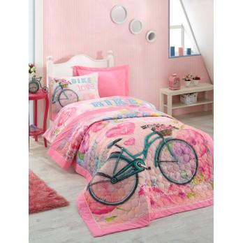 Bike Comfort Set Tek Kişilik Yatak Örtüsü ve Nevresim Takımı Pembe