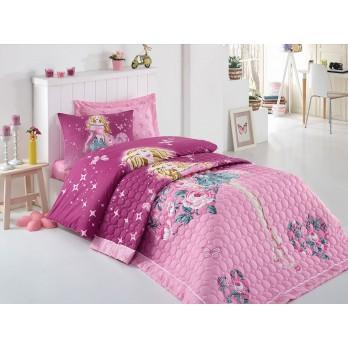 Comfort Set Cottongirl Tek Kişilik Yatak Örtüsü + Nevresim Takımı Mürdüm