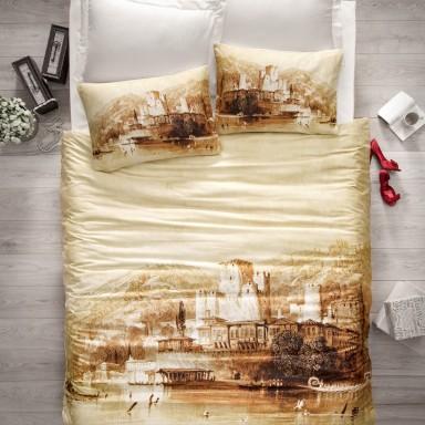 Cotton Art Dijital Saten Çift Kişilik Nevresim Takımı - Hisar