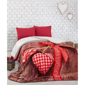Lovebox Dijital Baskılı Battaniye Çift Kişilik Kırmızı