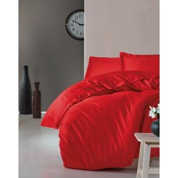 Elegant Seri Saten Çift Kişilik Nevresim Takımı Kırmızı