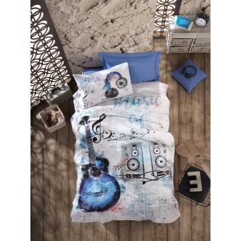 Genç Odası Tek Kişilik Nevresim Takımı Guitar Mavi