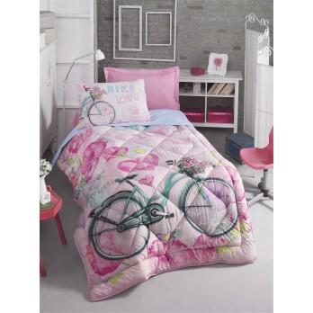 Bike Girls & Boys Line Tek Kişilik Uyku Seti Pembe