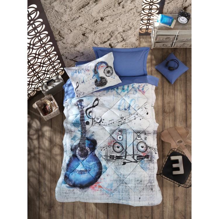 Genç Odası Tek Kişilik Uyku Seti Guitar Mavi