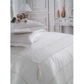 Luxury Handan  Çift Kişilik Yatak Örtüsü Ekru
