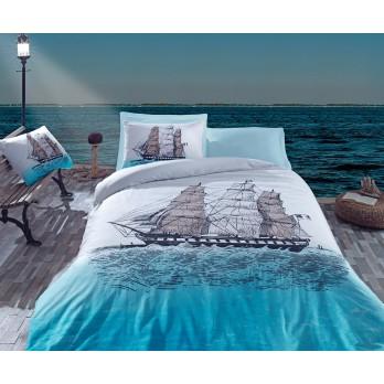 Maritime Ship  Tek Kişilik Nevresim Takımı Mavi