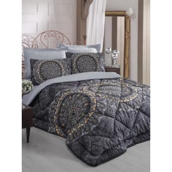Royal Saten Çift Kişilik Uyku Seti Elenor Siyah