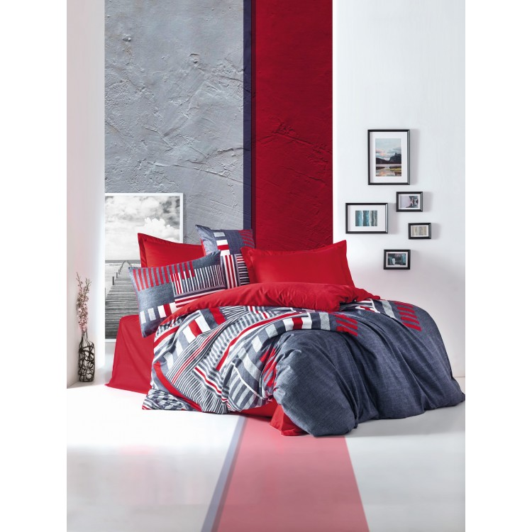 Saten Çift Kişilik Nevresim Takımı Roxy Kırmızı