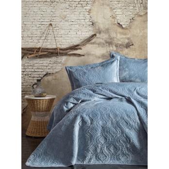 Soft Çift Kişilik Yatak Örtüsü Seti Mavi